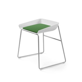 Scoop Low Stool, Green Seat, Silver Frame