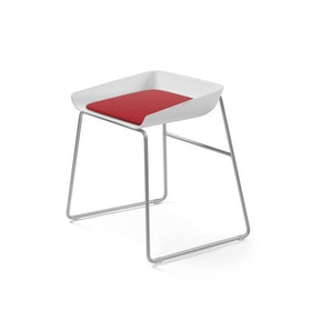 Scoop Low Stool, Red Seat, Silver Frame