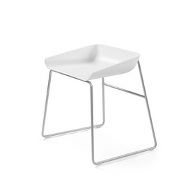 Scoop Low Stool, Silver Frame,White,hi-res