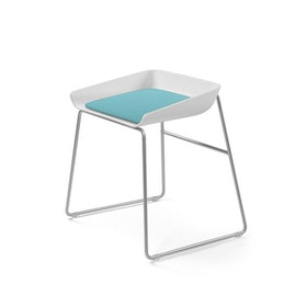 Scoop Low Stool, Aqua Seat, Silver Frame