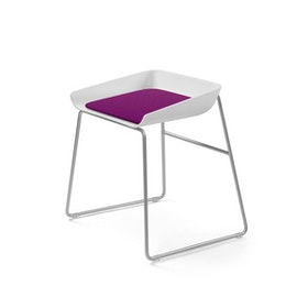Scoop Low Stool, Purple Seat, Silver Frame
