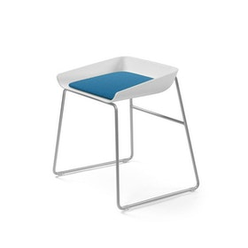 Scoop Low Stool, Pool Blue Seat, Silver Frame