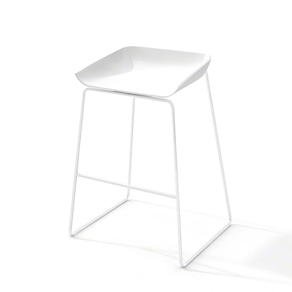 Scoop Bar Stool, White Frame