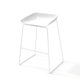 Scoop Bar Stool, White Frame