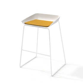 Scoop Bar Stool, Yellow Seat Pad, White Frame