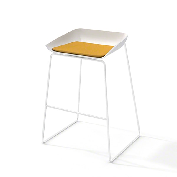 Scoop Bar Stool, Yellow Seat Pad, White Frame,Yellow,hi-res
