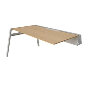 "Bivi Desk Plus One, Warm Oak, 48"", White Frame ,Warm Oak,hi-res"