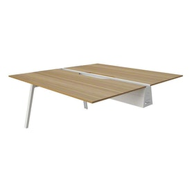 "Bivi Desk Plus Two, Virginia Walnut, 48"", White Frame"