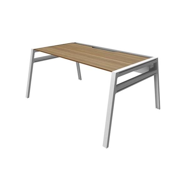 "Bivi Desk For One, Virginia Walnut, 48"", White Frame,Virginia Walnut,hi-res"