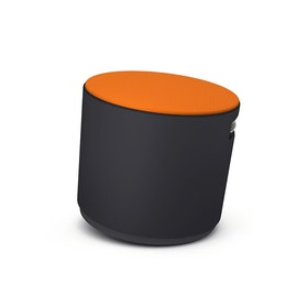 Black Buoy Stool, Orange Seat