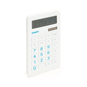 White Eco-Calculator with Pool Blue Numbers,Pool Blue,hi-res