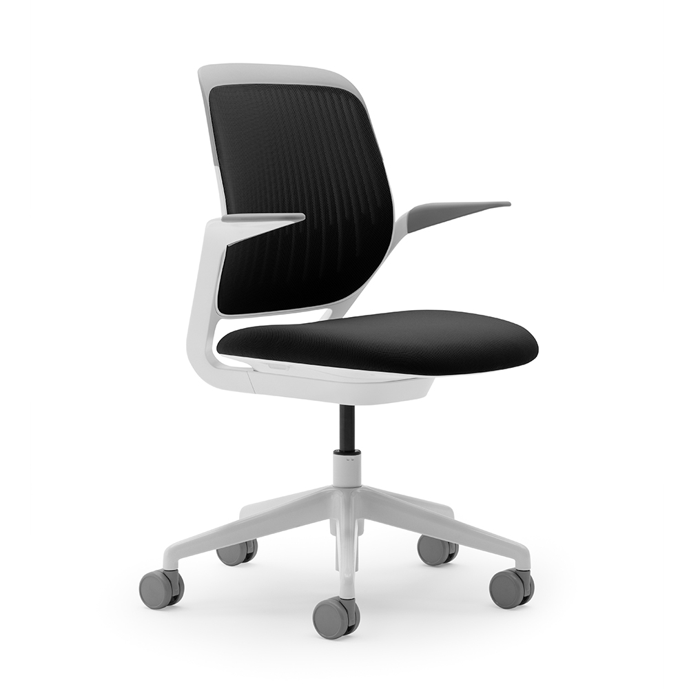 Black Cobi Desk Chair, White Frame,Black,hi Res. Loading Zoom