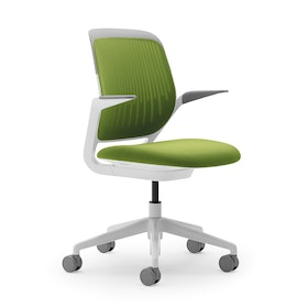 Lime Green Cobi Desk Chair, White Frame