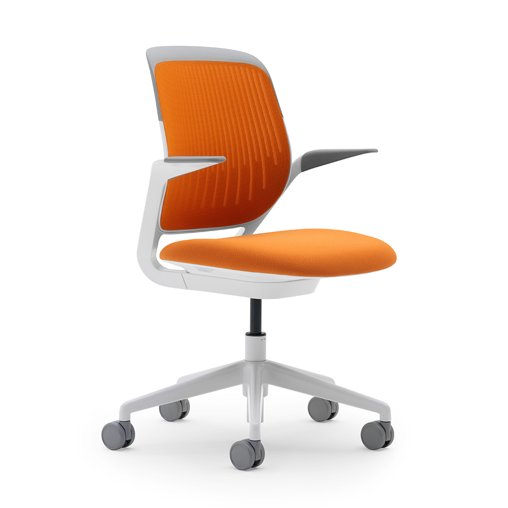 Orange Cobi Desk Chair White Frame Hi Res