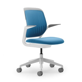 Pool Blue Cobi Desk Chair, White Frame