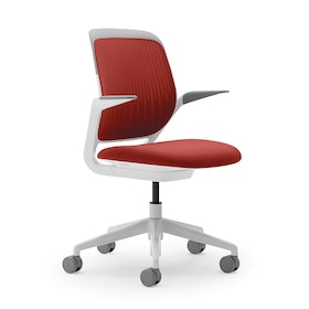 Red Cobi Desk Chair, White Frame