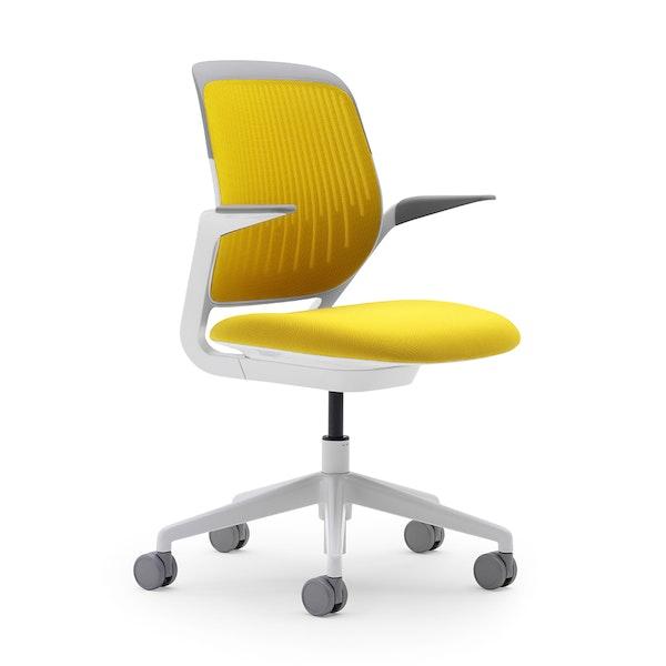 Yellow Cobi Desk Chair, White Frame,Yellow,hi-res