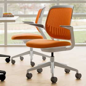 Yellow Cobi Desk Chair, White Frame