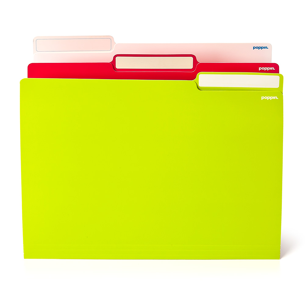 24 White Pink Lime Green Letter Size File Folders Folios