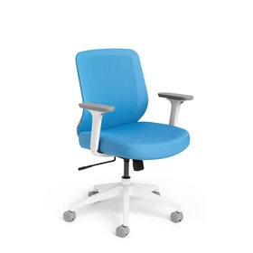 Pool Blue Max Task Chair, Mid Back, White Frame