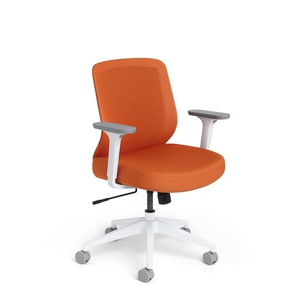 Orange Max Task Chair, Mid Back, White Frame,Orange,hi-res
