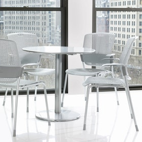 Shell Light Gray Cinto Chair wth Arms, Silver Frame