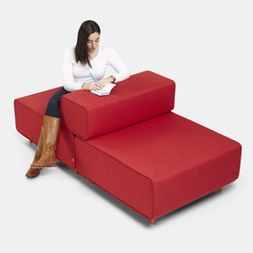 Red + Dark Gray Block Party Lounge Back It Up Chair,Red,hi-res