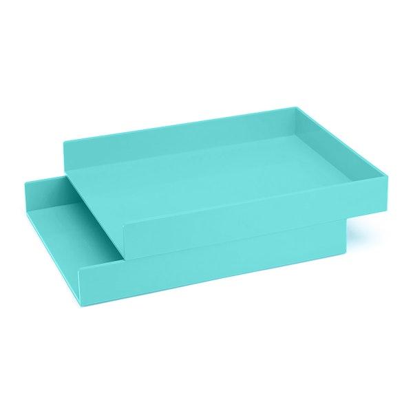 Aqua Letter Trays, Set of 2,Aqua,hi-res