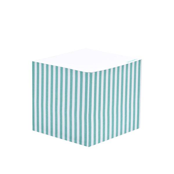 Aqua Striped Memo Cube,Aqua,hi-res