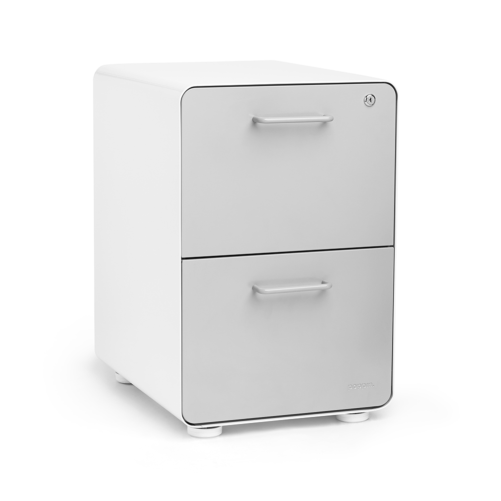 White + Light Gray Stow 2 Drawer File Cabinet | Poppin