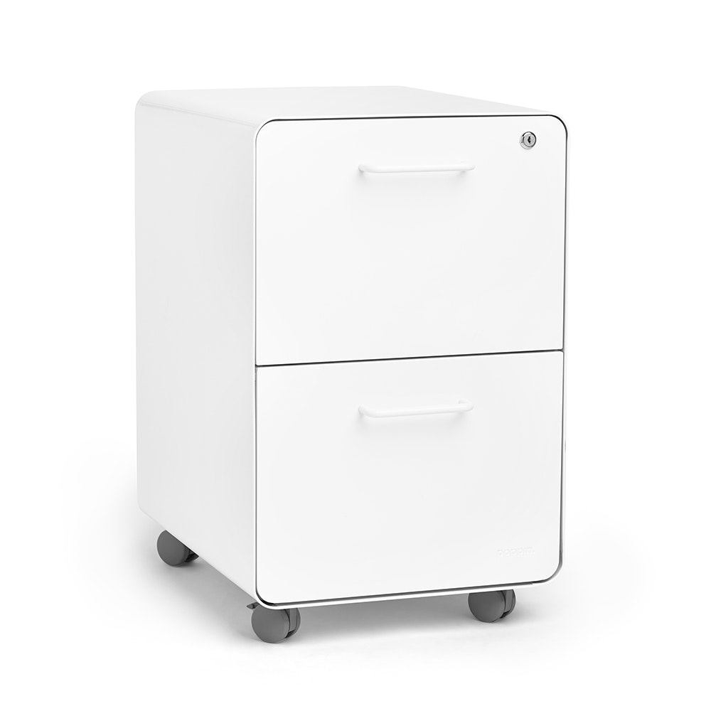 White Stow 2 Drawer File Cabinet, Rolling,White,hi Res