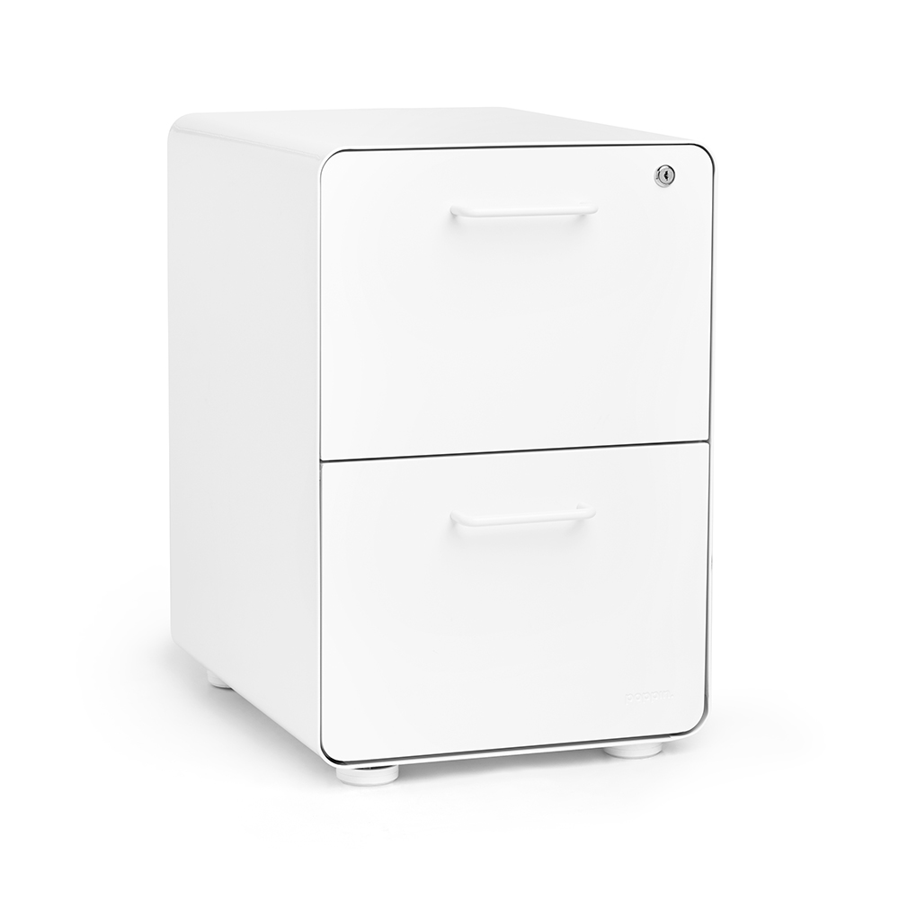 Beau White Stow 2 Drawer File Cabinet | Poppin