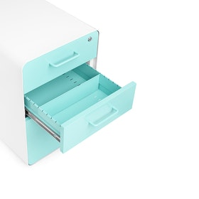 White + Aqua Stow 3-Drawer File Cabinet,Aqua,hi-res
