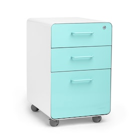 White + Aqua Stow 3-Drawer File Cabinet, Rolling