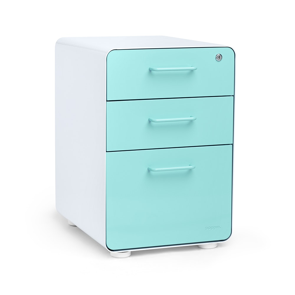 ... White + Aqua Stow 3 Drawer File Cabinet,Aqua,hi Res