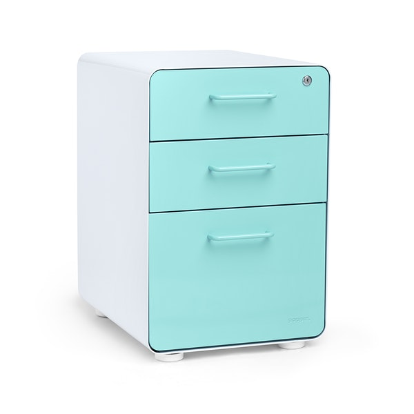 White + Aqua Stow 3-Drawer File Cabinet,Aqua,hi-res