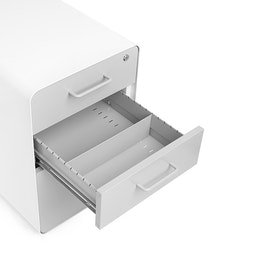White + Light Gray Stow 3-Drawer File Cabinet, Rolling,Light Gray,hi-res