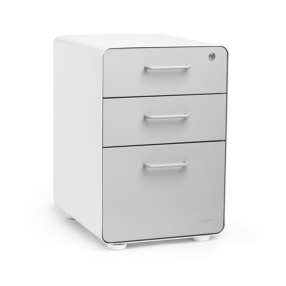 Gentil White + Light Gray Stow 3 Drawer File Cabinet | Poppin