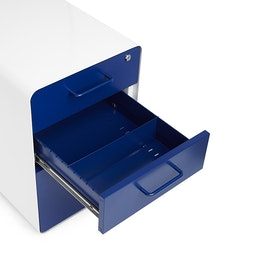 White + Navy Stow 3-Drawer File Cabinet, Rolling,Navy,hi-res