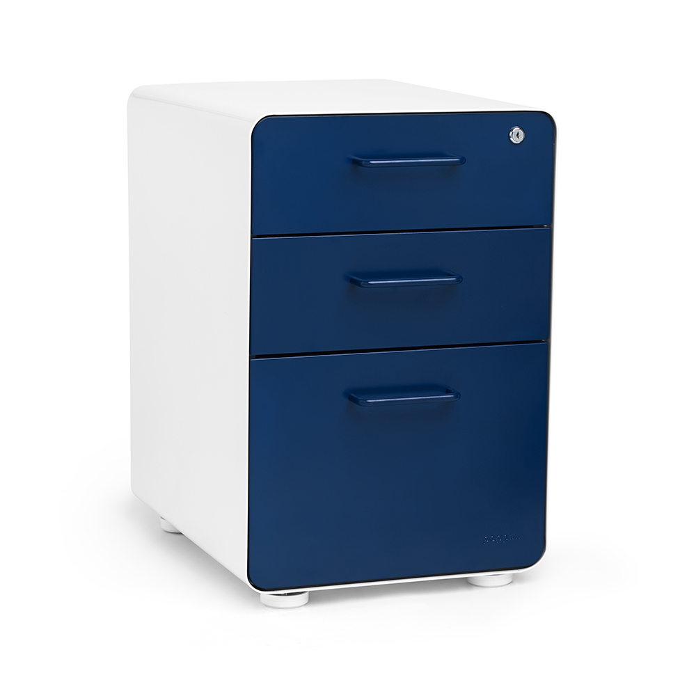White + Navy Stow 3 Drawer File Cabinet | Poppin