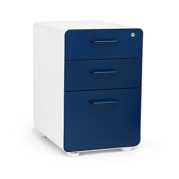 White + Navy Stow 3-Drawer File Cabinet,Navy,hi-res
