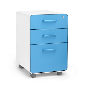 White + Pool Blue Stow 3-Drawer File Cabinet, Rolling