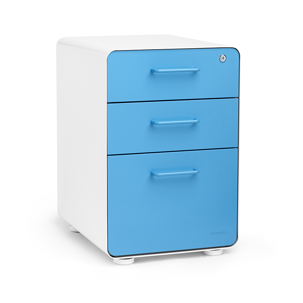 Beau White + Pool Blue Stow 3 Drawer File Cabinet | Poppin