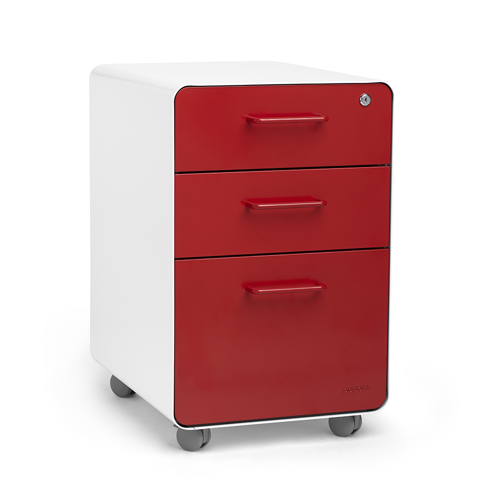 White + Red Stow 3 Drawer File Cabinet, Rolling,Red,hi