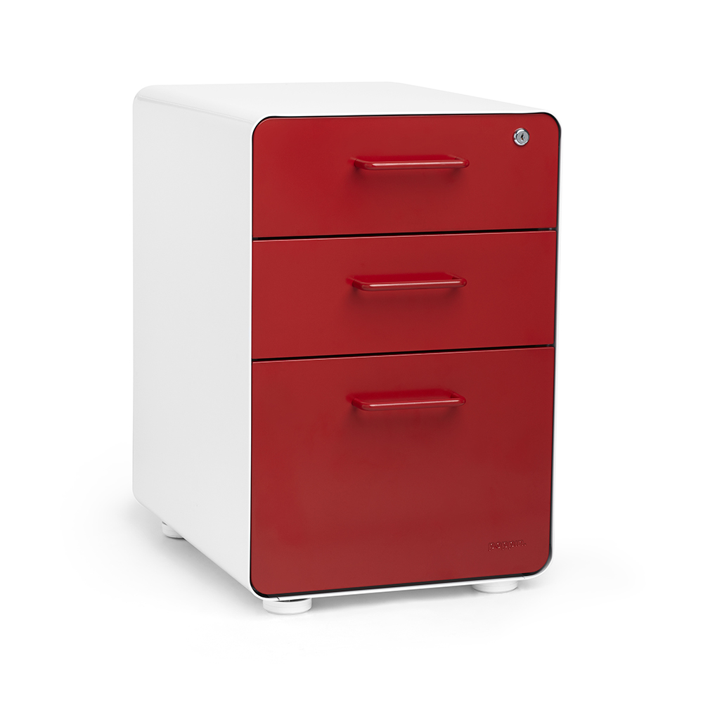 File Cabinet White Red Stow 3 Drawer File Cabinet Poppin