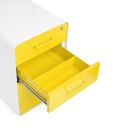 White + Yellow Stow 3-Drawer File Cabinet, Rolling,Yellow,hi-res