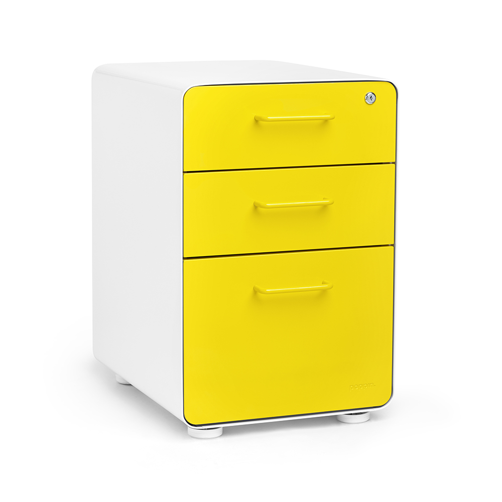 File Cabinet White Yellow Stow 3 Drawer File Cabinet Poppin
