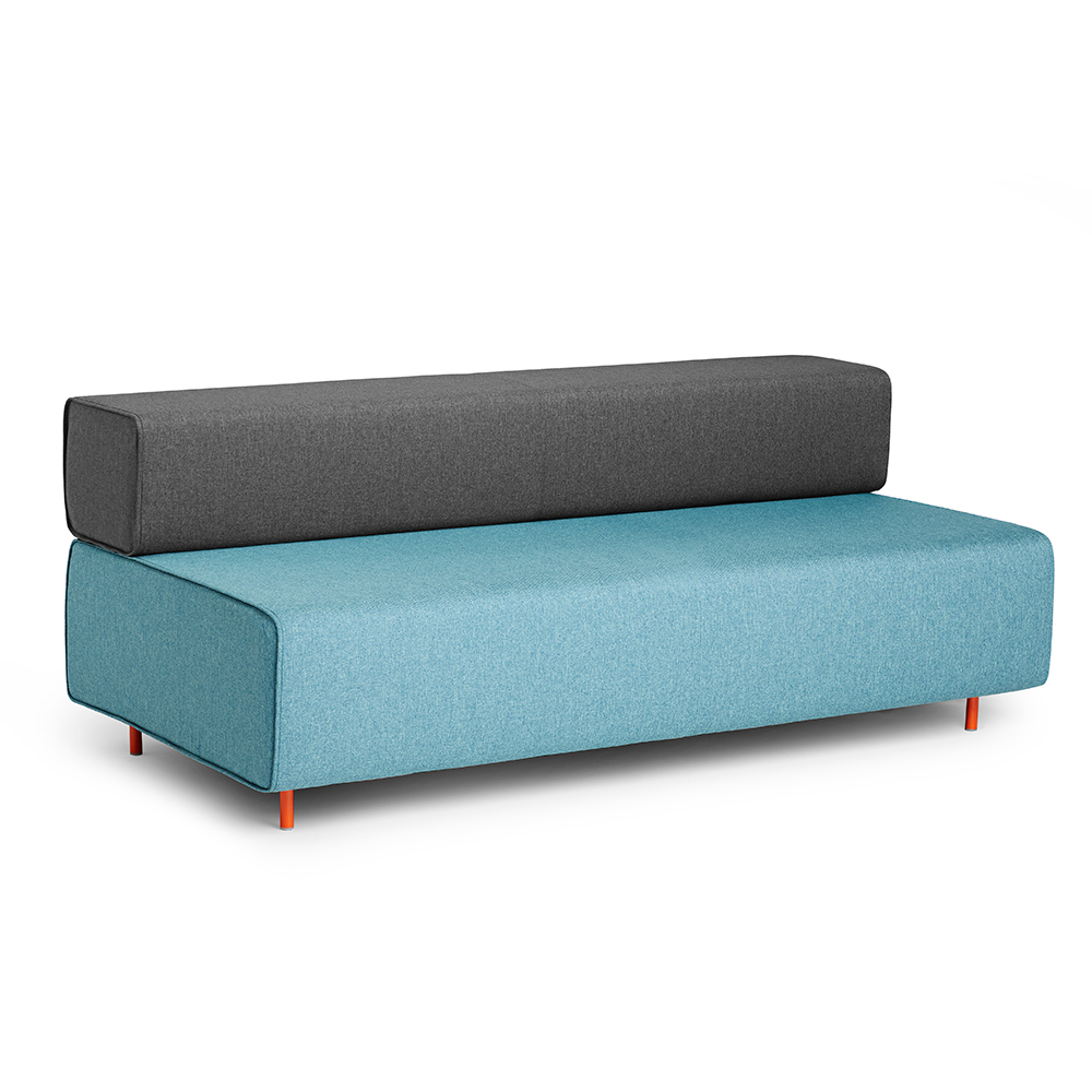 Block Party Lounge Sofa, Blue + Dark Gray| Modern Office Furniture | Poppin