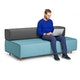 Blue + Dark Gray Block Party Lounge Sofa,Blue,hi-res