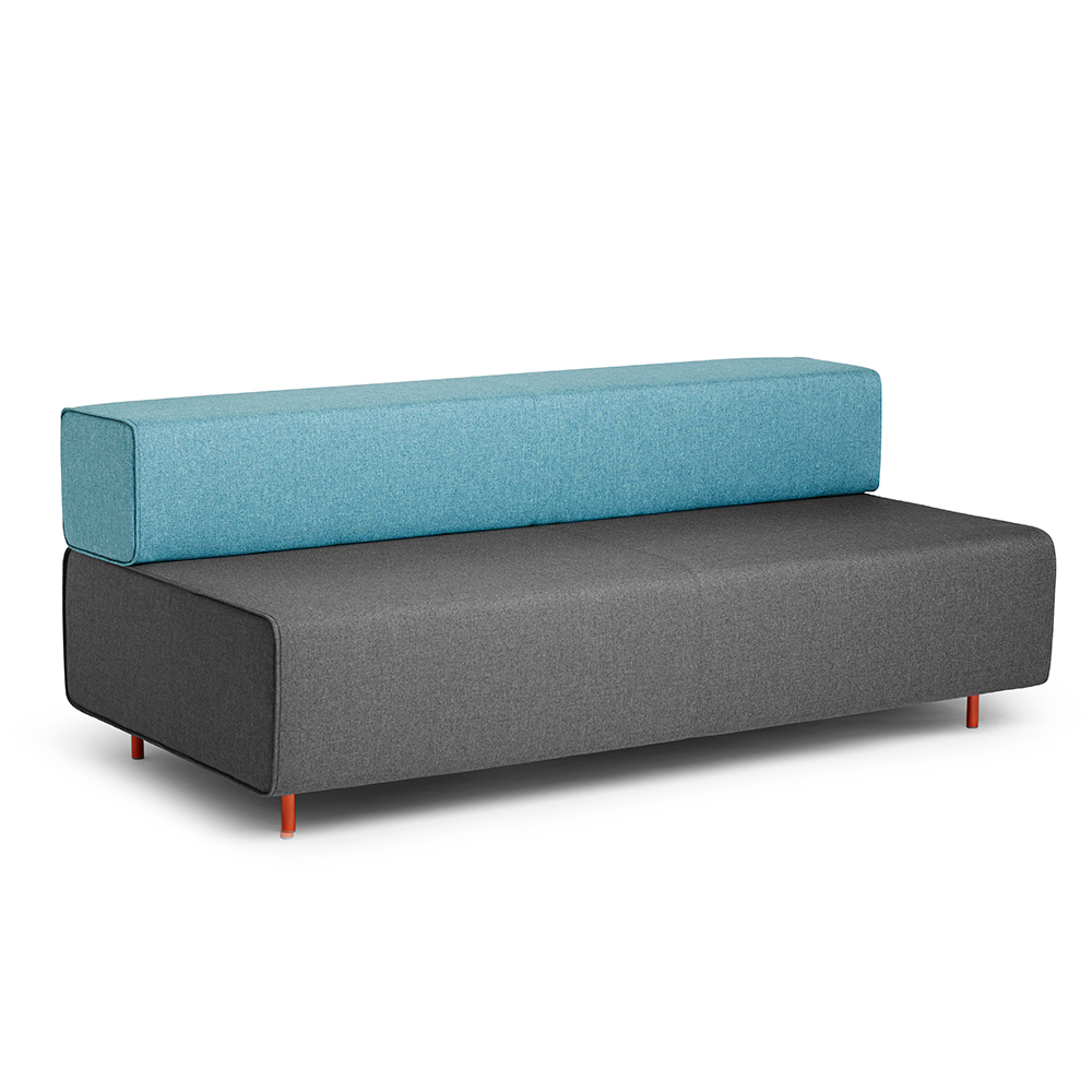 Block Party Lounge Sofa, Dark Gray + Blue| Modern Office Furniture | Poppin